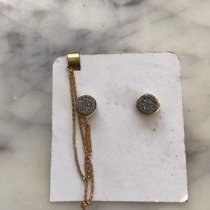 Jewelry - Druzy quartz 14K gf earrings with earcuff on chain